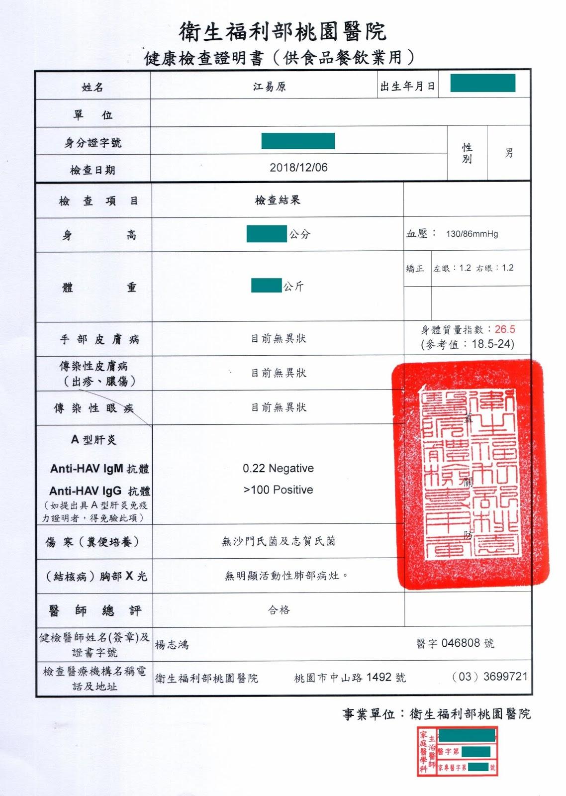 阿原記事本: 阿原的食品從業人員體檢 (餐飲業供膳人員體檢) 及高級體檢報告 (20181206 檢查)