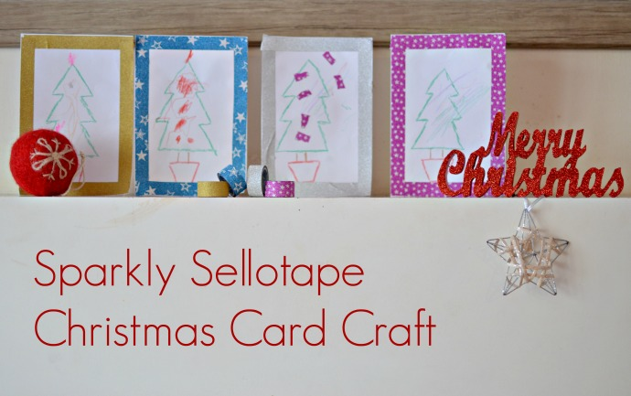 sellotape, sparkly tape, Christmas card crafts