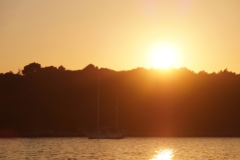 Croatia island sunset boat sun orange sky sea evening summer beach