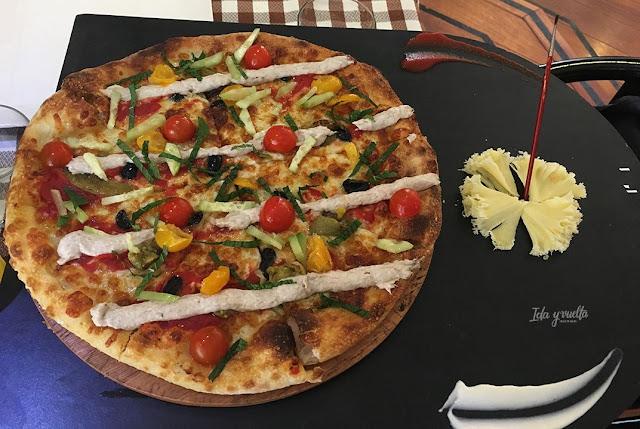 Marquinetti presentación pizza El Greco