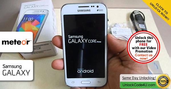 Factory Unlock Code Samsung Galaxy Core Prime from Meteor