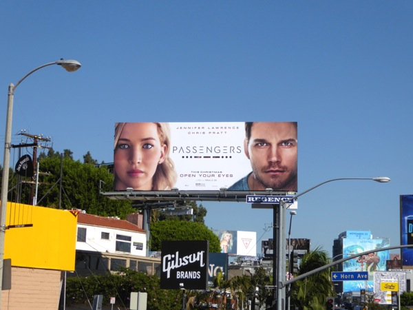 Passengers movie billboard Sunset Strip