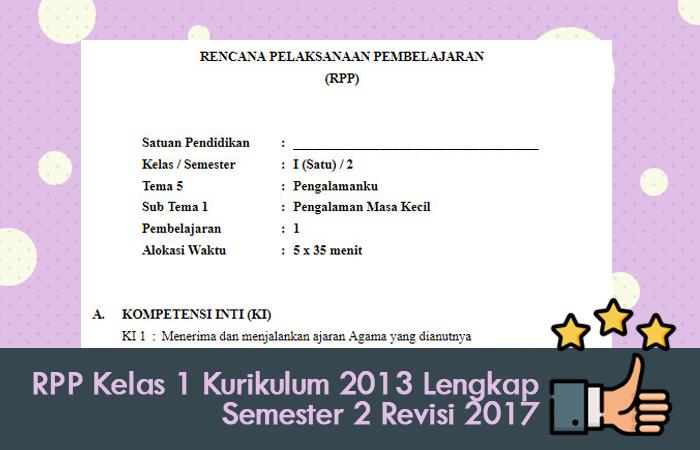 RPP Kelas 1 Kurikulum 2013 Lengkap Semester 2 Revisi 2017