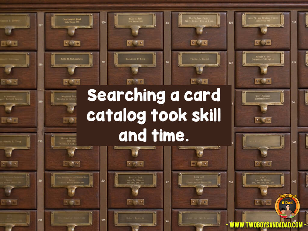 Searching on a card catalog is an old school skill