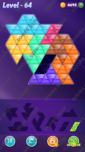Block! Triangle Puzzle 8 Mania Level 64 Solution, Cheats, Walkthrough for Android, iPhone, iPad and iPod