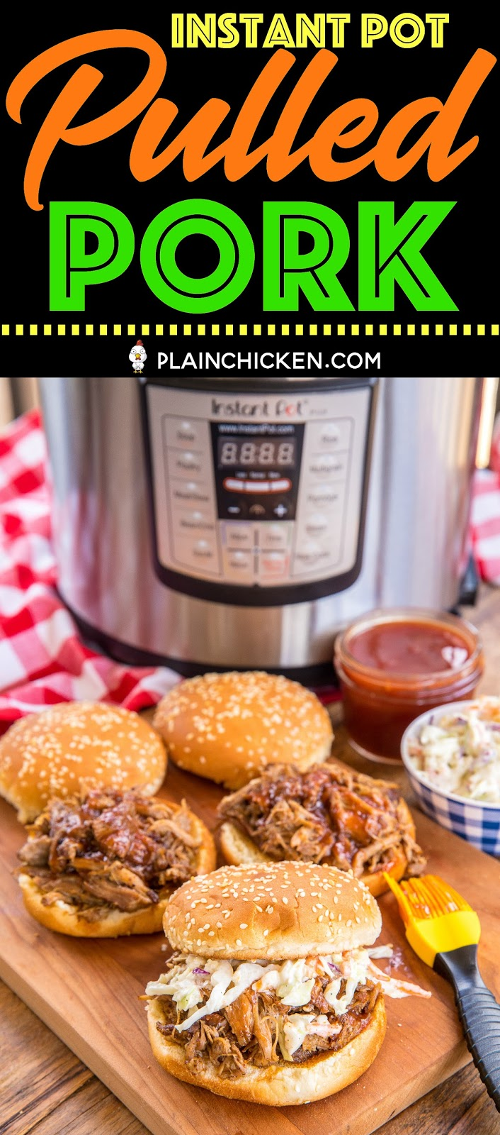 Instant Pot Pulled Pork - seriously THE BEST pulled pork I've EVER eaten!! Pork shoulder/pork butt seasoned with brown sugar, paprika, chili powder, dry mustard, garlic powder and onion powder. This pulled pork was incredibly tender and tasted amazing! Perfect for your summer parties!! #instantpot #pulledpork #porkbutt #porkrecipes #instantpotrecipes