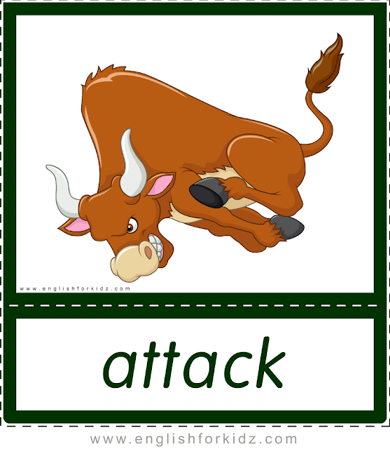 Attack (bull) - printable animal actions flashcards for English learners