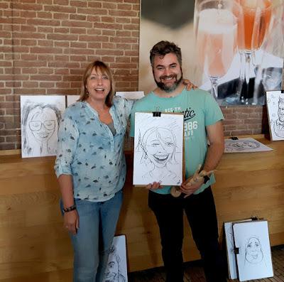 model en karikatuur portret tekenaar