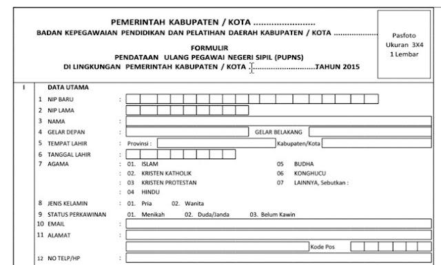 Download Contoh Formulir PUPNS Tahun 2015