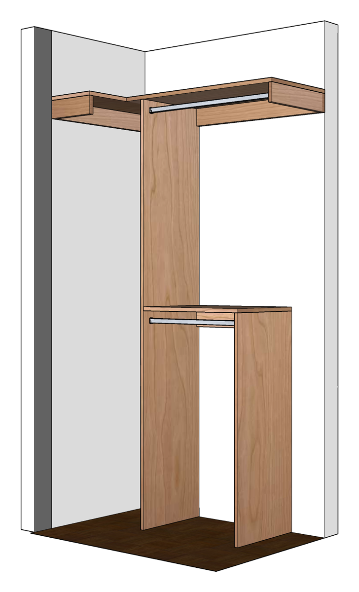 The closet rods should be installed so that the top center of the closet  rod is 12  away from the back wall  not the back support  and 1 1 2  down  from the. DIY Small Closet Organizer Plans