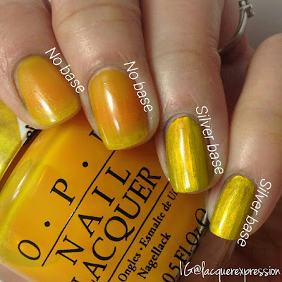 swatch of prismatic yellow nail polish from the opi color paint collection