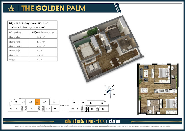 Căn A6 - 66m - The Golden Palm