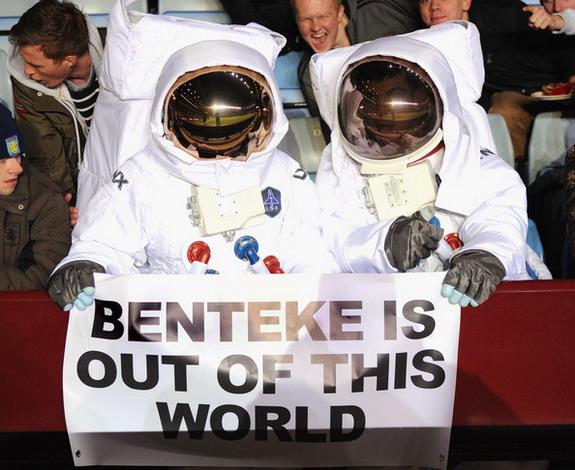 Astronaut fans of Christian Benteke at Villa Park