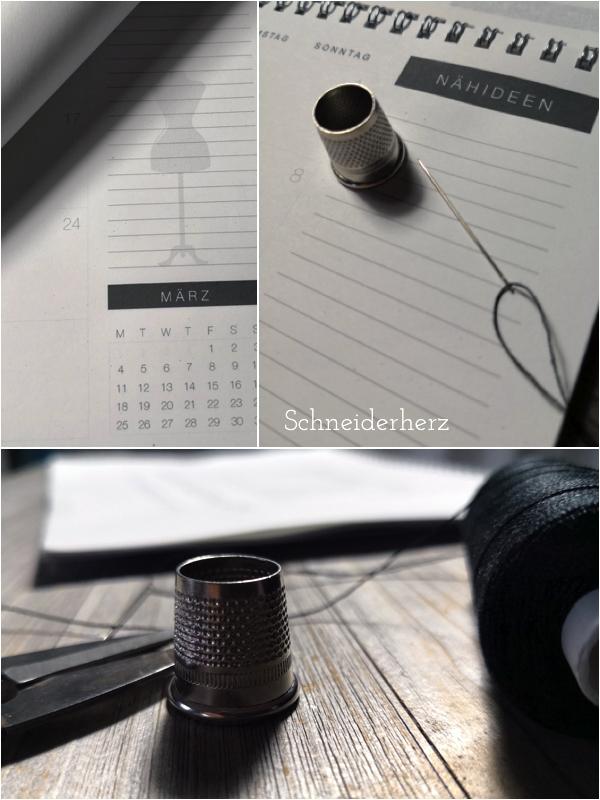 Druckvorlage Printable Schneiderherz Kalender