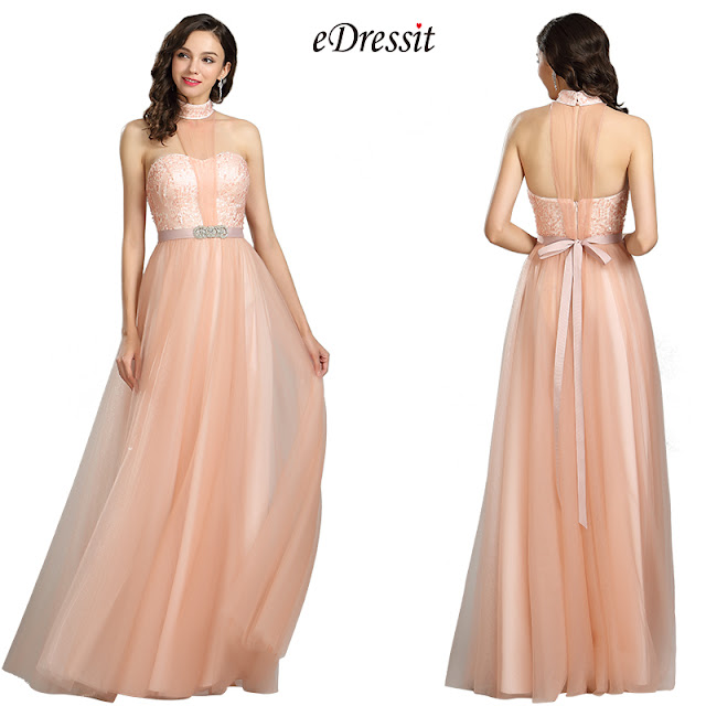 halter peach sequin prom dress