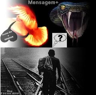 """Um pessoa parada pensando, em qual Caminho a seguir: Um o lado do """"Assim Diz o SENHOR"""", do outro o da serpente"""