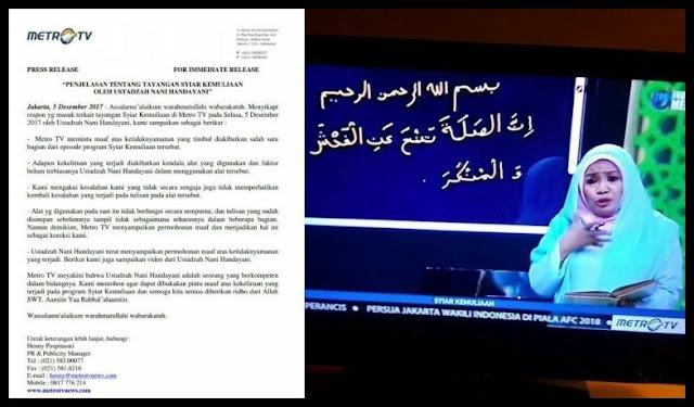 MetroTV Minta Maaf Atas Kesalahan Penulisan Ayat Al-Quran dalam Program 'Syiar Kemuliaan'