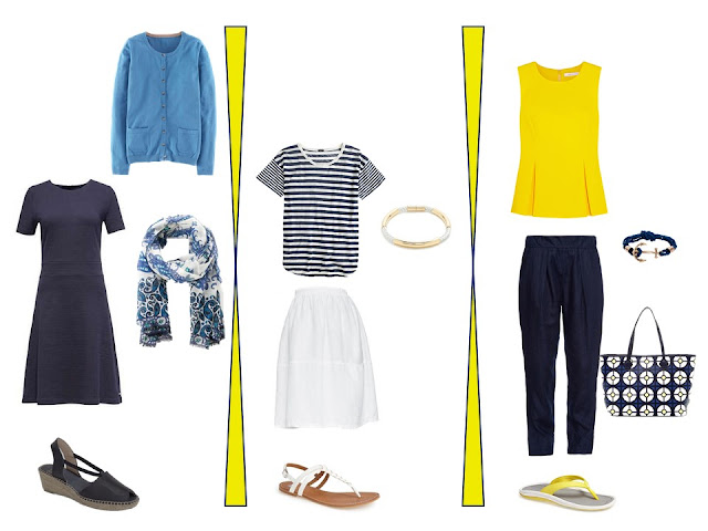 two outfits from a navy, yellow, blue and white travel capsule wardrobe for warm weather