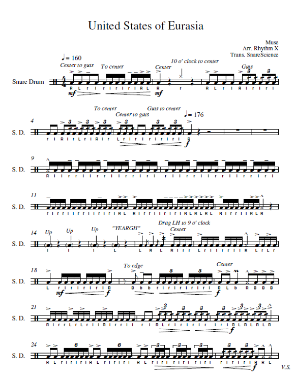 Percussion and Drum Stuff: Snare Drum Sheet Music - Rhythm X