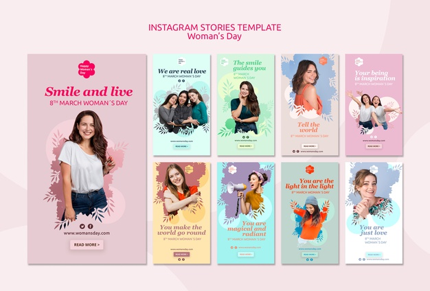 Womens day instagram stories template Free Psd