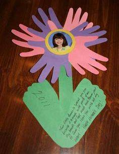 Idea to make flowers from paper handprint for kids 3
