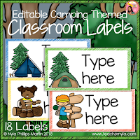 Camping Themed Classroom Labels EDITABLE