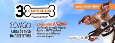 III Cãominhada do GPA no domingo 20/08 contará com a campanha Magnus em dobro em Registro-SP