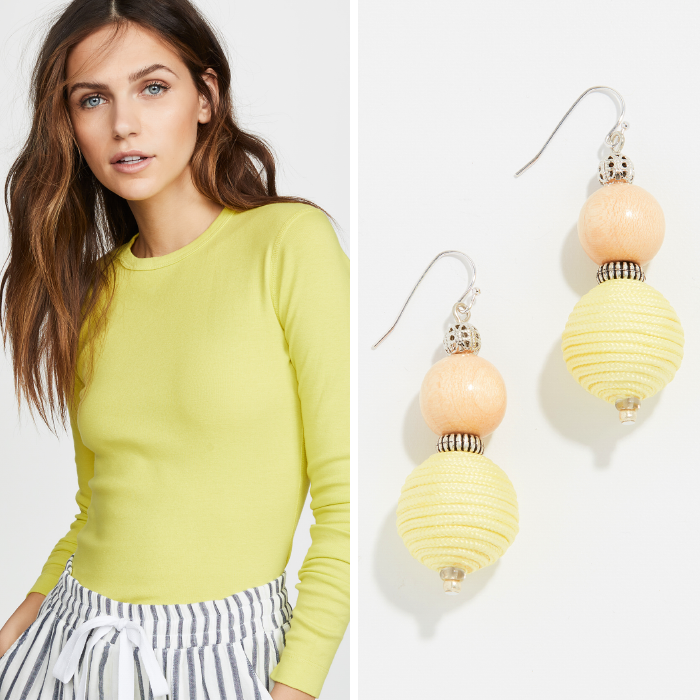 three dots yellow tee, yellow earrings, spring trends from shopbop