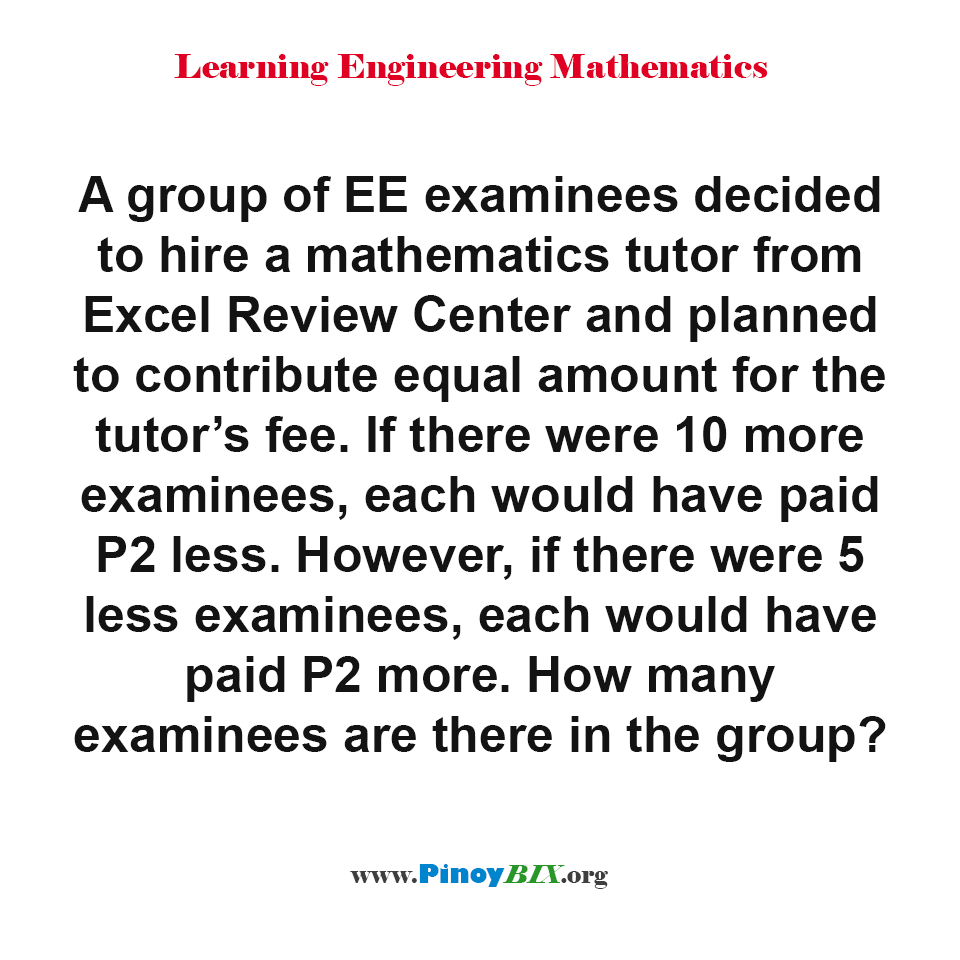 How many examinees are there in the group?