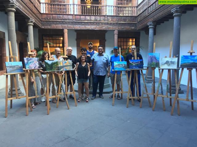 Un grupo de pintores de Madrid retrata los rincones de Santa Cruz de La Palma