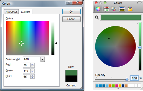 Color selection tools in operating systems. Left: Windows. Right: MacOS