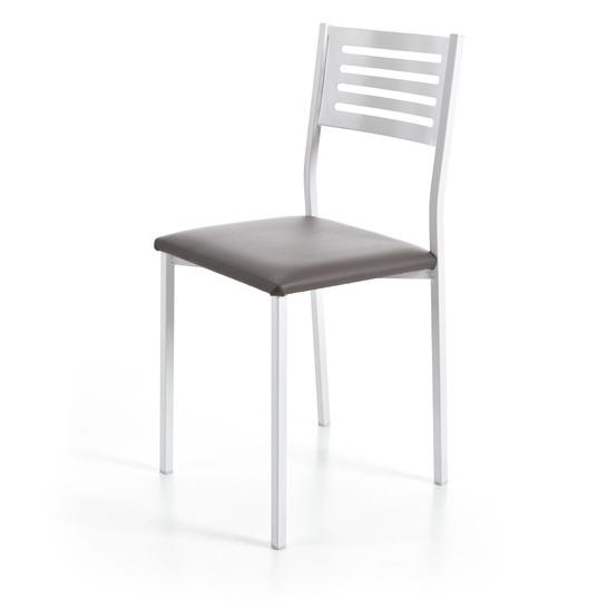 silla cocina pata metal blanco asiento chocolate