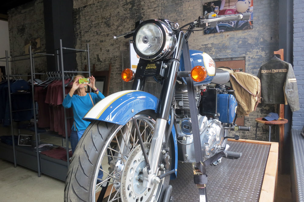 Blue Royal Enfield.