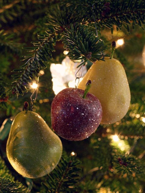 Christmas Tree Fruit Ornaments.Meet Me In Philadelphia Christmas Craft 3 Glittered Apple