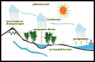 Penjelasan mengenai ketiga siklus tersebut diuraiakan sebagai berikut Macam-macam siklus hidrologi (air)