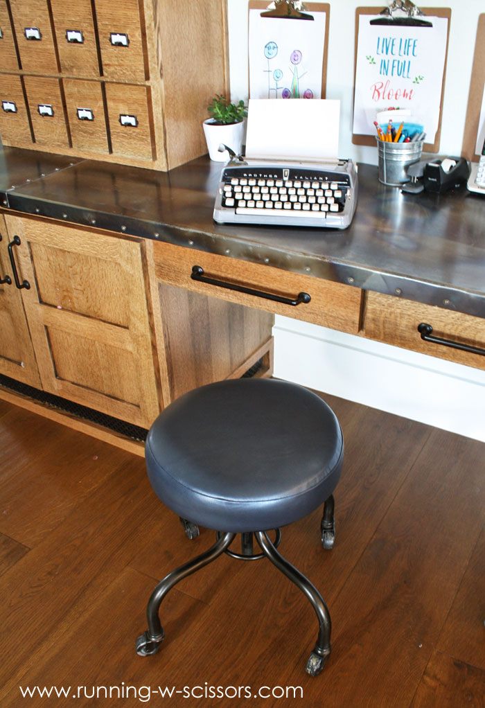 Running With Scissors Rolling Stool With Leather