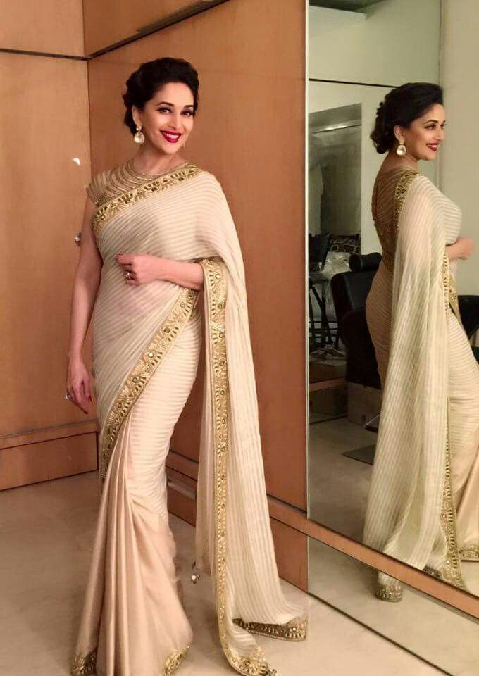 Madhuri Dixit in a white saree