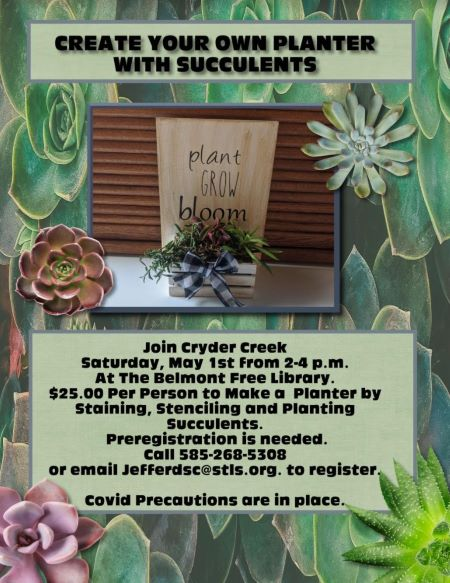 5-1 Planter Making Class At The Belmont Free Library