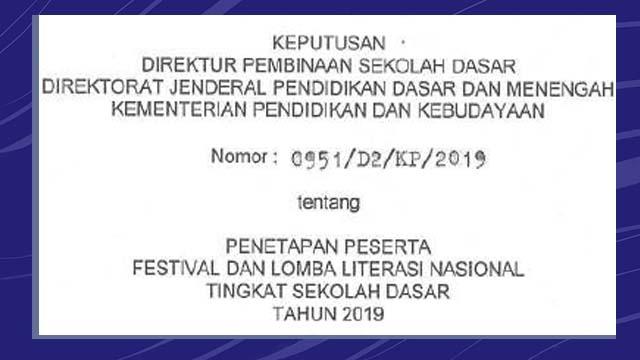 Daftar Peserta Lolos FL2N SD Tingkat Nasional