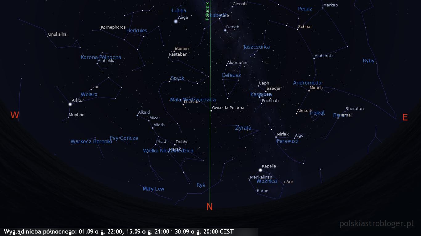 Wygląd nieba północnego 01.09 o g. 22:00, 15.09 o g. 21:00 i 30.09 o g. 20:00 CEST
