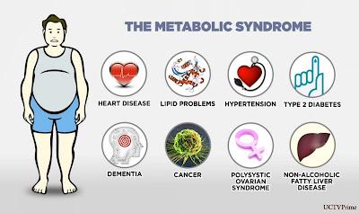 Berdasarkan Pengamatan dan pemeriksaan Ahli kesehatan Maupun Dokter,Seseorang yang di-di agnosis mengalami Sindrom Metabolik (metabolic syndrome) yang meningkatkan resiko penyakit berbahaya penyertainya,sehingga di sarankan untuk menurunkan berat badanya segera.    Sindrom juga ditulis sindroma metabolik bagaikan tanda  bahaya(alert system),walaupun tidak menimbulkan rasa Sakit.    Orang yang mengalami Sindrom Metabolik secara esensial akan meningkatkan resiko terjadinya penyakit Kardiovaskular sebesar dua kali lipat dan peningkatan resiko DM tipe dua sebesar lima kali lipat dibandingkan bagi mereka yang tidak memgalaminya.    Banyak Nama Dengan Pengertian Yang Sama Sindrom Metabolik Adalah Suatu Kumpulam Faktor risiko atau ketidak normalan dengan gejala yang secara bersama-sama atau sendiri ,sebagai akibat komplikasi yang meningkatkan resiko diabetes melitus serta gangguan pada jantung dan pembuluh darah.  Sindrom metabolik bukanlah suatu kelompok penyakit dan di bedakan dari  penyakit DM tipe 2 serta penyakit kardiovaskuler,karena konsep dari sindrom metabolik sebenarnya hanya ditujukan sebagai faktor prediktif dan pencegahan terjadinya penyakit tersebut.  Kondisi Yang berhubungan dengan Sindrom Metabolik adalah:  Obesitas Sentral/abdominal,yaitu obesitas yang terkonsentrasi di daerah perut ditandai dengan meningkatnya lingkar perut.  Gangguan Lemak,Yaitu ditandai dengan meningkatnya konsentrasi trigliserida,apolipoprotein B dan jumlah partikel small dense LDL,serta di ikuti dengan penurunan konsentrasi kolestrol HDL  Peningkatan Tekanan Darah  Resstensi Insulin,Yaitu disebut juga sebagau prediabetes  Kondisi Proinflamasi,Yaitu berperan dalam proses peradangan,ditandai dengan peningkatan high sensitivity C- Reaction Protein ( hsCRP).  Kondisi Protrombotik,Yaitu berperan dalam proses pembekuan darah,ditandai dengan meningkatnyaPlasminogen Activator Inhibitor 1 (PAI-1)dan Fibrinogen.    Istilah Sindrom Metabolik Di perkenalkan Oleh Reaven pada tahun 1998 sebagai Sin