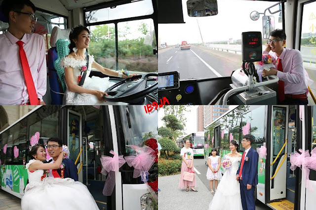Bride drives her groom to their wedding venue, in a bus where they first met