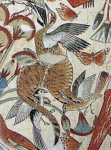 Jagd im Papyrusdickicht; Ausschnitt aus einer Wandmalerei