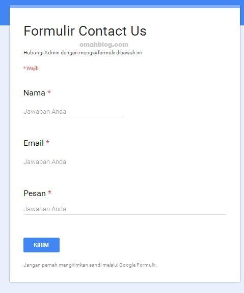Membuat Formulir Contact Us Dengan Google Drive
