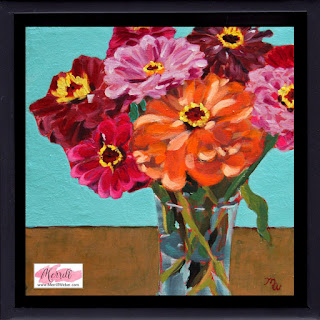 A Burst of Zinnias original acrylic framed floral painting by Pennsylvania artist Merrill Weber