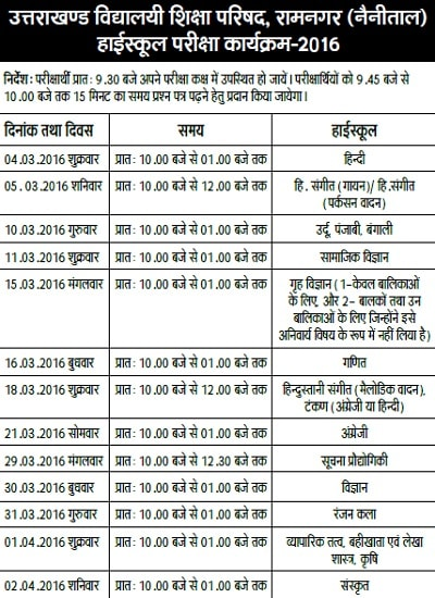 Uttarakhand Board 10th Class Exam Time Table 2016