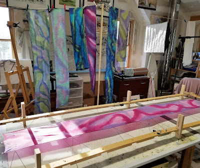 Art, painting, silk scarf, scarf, tips, techniques, art studio, spring, colors, Vermont