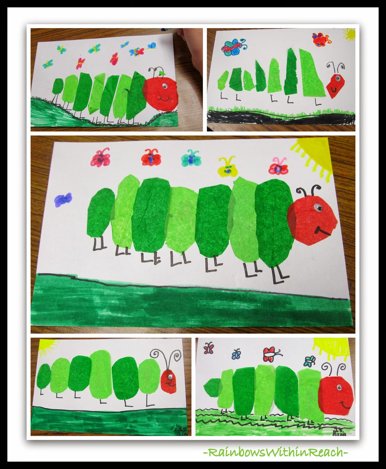Rainbowswithinreach Tissue Paper Hungry Caterpillars Reflect Eric Carle
