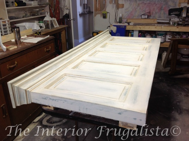 Old Headboard Door White Top Coat