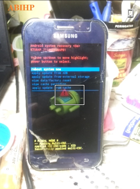 Lepaskan emua tombol recovery setelah muncul menunya di Samsung j1 ace.